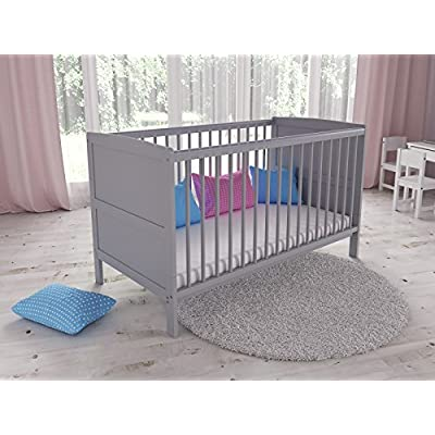 Convertible Grey Wooden Baby Cot Bed + Foam Mattress with Antibacterial Aloe Vera Cover  ERRU