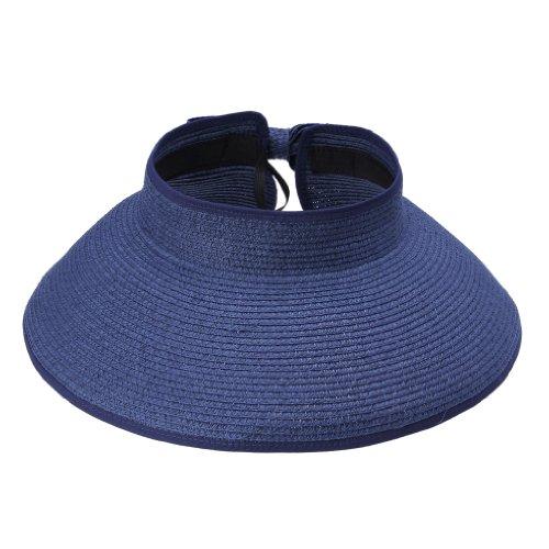 Smile YKK Chapeau de Soleil Crochet D'été Bonnet Femme Mode Uni Outdoor Multifonction Bleu