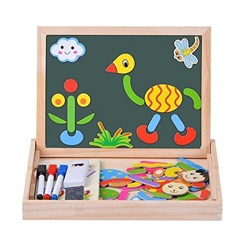 Uping Puzzles de Madera Magnético | Rompecabezas Magnéticos de Colores | Pizarra Magnético para Rotulador + Tiza | Juguete Educativo para Niños de 3+