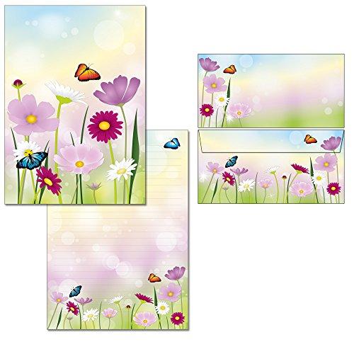 Briefblock-Mappe Blumenwiese - 1 Schreibblock mit Linien DIN A4 + 18 Briefumschläge DIN lang 7360+6123