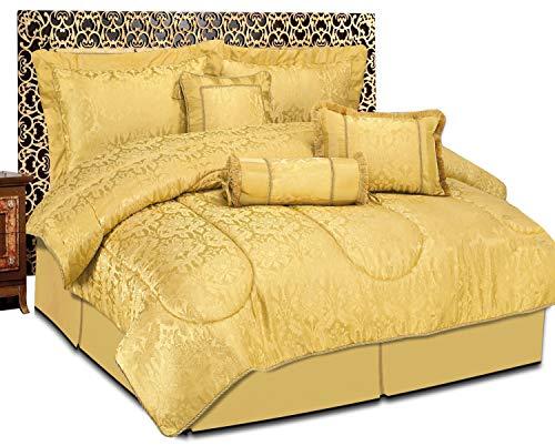 Imperial stanze 7piece jacquard comforter bedding set copriletto trapuntato include il collo cuscino sham cuscino imbottito mantovana, amazon gold, doppio