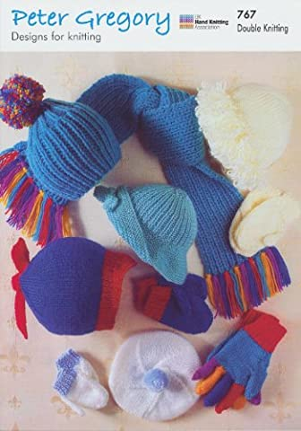 Peter Gregory Double Knitting DK Pattern - 767 Baby Hats Scarf Mittens & Gloves