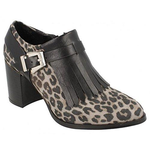 Spot On - Stivaletti alla caviglia con tacco e frange - Donna (EU 36) (Leopardato Grigio)