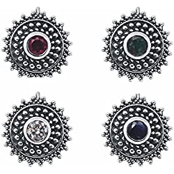 Shine jewel 925 silver multi stone cubic zirconia vintage style nose pins for women