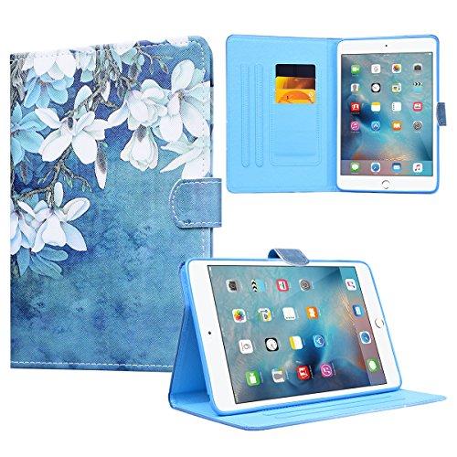Yokata Apple iPad Mini 1 / Mini2 / Mini3 Hülle Case Schutzhülle Tasche mit Standfunktion und Auto Sleep / Wake Up Funktion Slim Ultra Dünn Hochwertiges PU Leder Etui Ledertasche für iPad Mini 1 / Mini2 / Mini3 (7,9 Zoll) Tablet Etui - Orchideen (Blau)