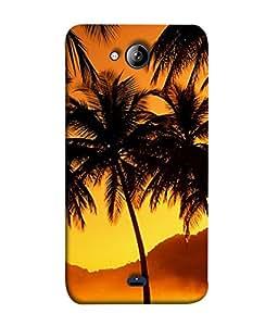 PrintVisa Designer Back Case Cover for Micromax Canvas Play Q355 (Fabulous golden orange yellow black scenery)