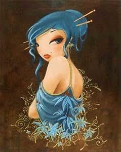 Affiche: 'Fleurs bleues' par Misstigri - Taille de l'image 40 cm L x 50 cm H