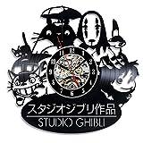 3D Studio Ghibli Anime Theme creativo vinilo negro reloj de pared decoración para el hogar Art Diy Personalizado-Unique Gift Idea Box para hombres novio niños niñas padre Navidad y Halloween