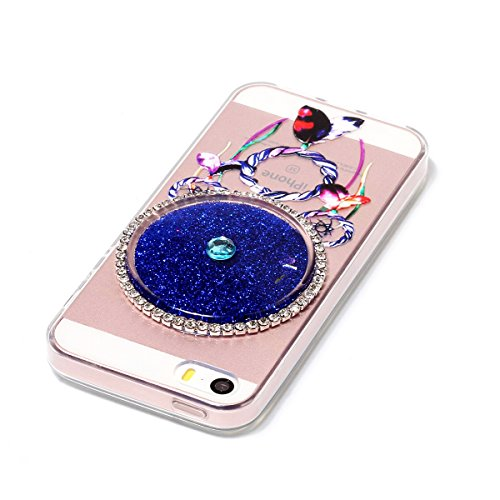 Coque iPhone 5S Etui iPhone 5 Glitter Liquide TPU Etui Coque pour iPhone SE CaseLover Attrapeur de rêves Motif Mode Etui Coque Dynamic Etoiles Paillettes Sable TPU Slim pour Apple iPhone 5 SE Mode Fle Navy Bleu