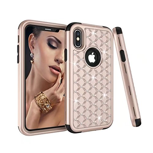 iPhone X Hülle, Lantier Anti Slip Scratch Dual Layer Heavy Duty Luxury Bling Crystal Diamond Hybrid Armor Hard Soft Rubber Full Body Protective Durable Shockproof Case Cover für Apple iPhone X Gold / Schwarz