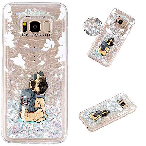 Miagon Flüssig Hülle für Samsung Galaxy S8 Plus,Glitzer Weich Treibsand Handyhülle Glitter Quicksand Silikon TPU Bumper Schutzhülle Case Cover-Hund