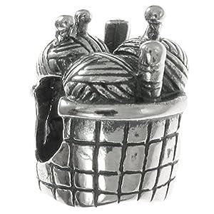 Queenberry Charm-Anhänger Strickkorb, Sterlingsilber, für Charm-Armbänder wie Pandora Troll Chamilia Biagi