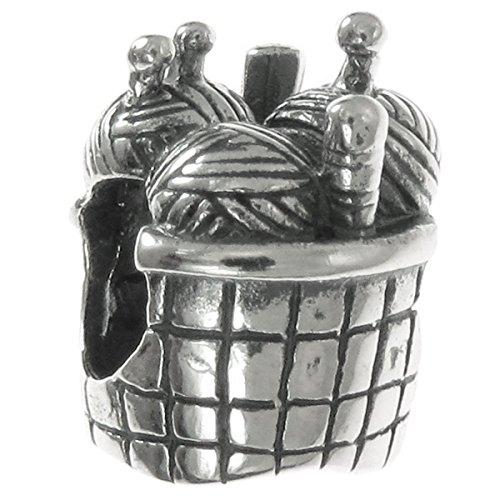 Queenberry Charm-Anhänger Strickkorb, Sterlingsilber, für Charm-Armbänder wie Pandora Troll Chamilia Biagi (Mädchen-charme-armband, Wie Pandora)