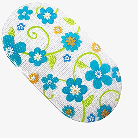 Safety Kids Cartoon Non Slip Suction PVC Massage Shower Little Cuties Anti Slip Bath Mat for Bathtub, Bathroom and Baby, Cute, Skid Proof, 70 X 38 cm (Green Flower Totem)
