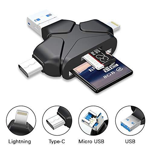 4 en 1 Lector de Tarjetas de Memoria SD / Micro SD (TF) Adaptador Tarjeta con Conector Estándar USB 3.0 Micro USB Tipo C Lightning para Apple iPhone iPad Mac PC Android Teléfonos Inteligentes y Tabletas con función OTG