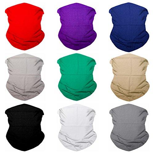 SoJourner Bags Senza Giunte Bandane Viso Maschera Fascia Sciarpa Headwrap Neckwarmer & More - 12-in-1 Multifunzionale per Festival Musicali 9pcs Solidi Serie 1