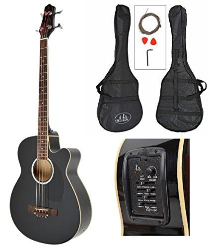 Akustik E- Bass Gitarre EQ Pickup Tonabnehmer Bassgitarre mit Tasche und Zubehör