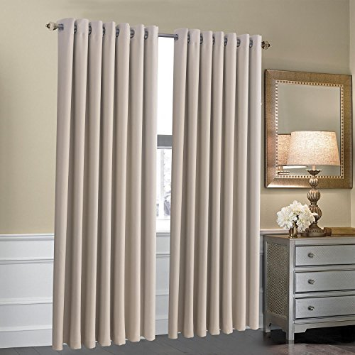 Goldstar® Ring Top Thermal Blackout Curtains Eyelet Ready Made pair Insulation (66″ x 72″, Cream)