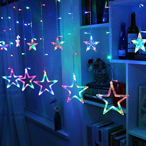 MJTP 138 LEDs 12 Sterne LED Lichterketten 8 Licht Modi Streifen Weihnachten Baum XMAS Party Hochzeit Kinderzimmer Dekoration Draussen Innen Lampen (Bunt) - 3