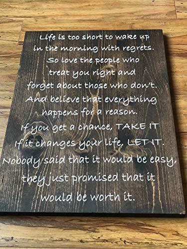 Holzschild mit Aufschrift Life is Too Short Saying, rustikales Schlafzimmer-Schild mit Sprüchen