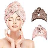 Fixget 2 Pcs Turban Cheveux Secs, Ultra Absorbant Sèche Serviette De Séchage Turban Wrap Cheveux Séchage Rapide Anti Crépu Conception en Microfibre pour Femmes (Brun Et Rose)