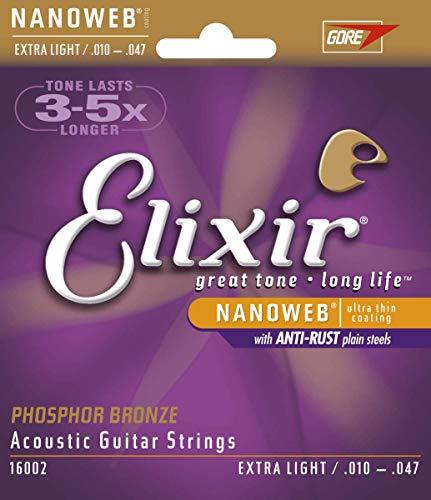 Elixir 16002 Acoustic Guitar Saiten 6 Acoustic Phosphor Bronze Nanoweb Coating Extra Light