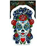"Sunny Buick - Butterfly Eyes Sugar Skull Mysterious- 3.5"" x 5.5"" - Weather Resistant, Long Lasting for Any Surface"