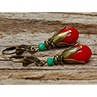 Vintage Tropfen Ohrringe mit Glasperlen - rot opak, türkis & bronze