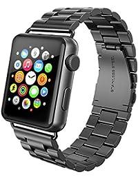 Apple Watch Armband 42mm, Swees Edelstahl Replacement Wrist Strap Band Uhrenarmband Schlaufe Smart Watch Armbänder mit Metallschließe für Apple Watch 42mm Series 3 / 2 / 1 - Schwarz