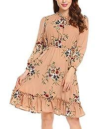 Zeela Damen Herbst Langarm kleid Knielang Rüschen Floral kleid A-linie  Blumen Vintage Abendkleid Casualkleid eda2c95342