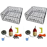 """2-Pack Of KUFA 28"""" Vinyl Coated Crab Tra & Accessory Kit (100' Lead CoreRope, Clipper,Harness,Bait Case & 11"""" Red/White Float) (S70+CAQ1)x2"""
