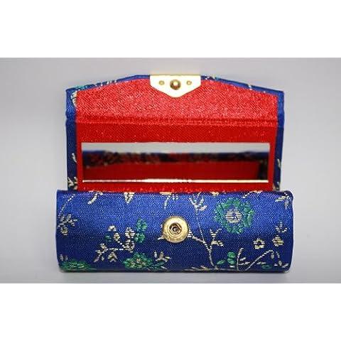 One Blu Elettrico (Blu Royal) seta tessuto broccato/Custodia Con Oro E Verde/Blu Effetto Seta, con specchio interno per Convenience–Contiene un Rossetto per cellulare