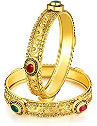 Jewels Galaxy Limited Edition Of Elegant Red-Green Ruby Delicate Design Magnificent Gold Plated Bangle Set For...