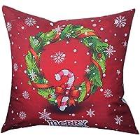 Fundas De Cojines,Lenfesh Árbol de Navidad Funda De Almohada Para Hogar Sofá Cama Decoracion Cojines Navideños (Rojo, 45_x_45_cm)