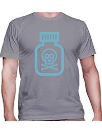 T-shirt para hombre con la impresión del Bottole with Poison Sign Illustration .