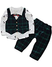 Baby Boy Suit Gentleman Party Wedding Outfit Long Sleeve T-Shirt with Bowtie and Lattic