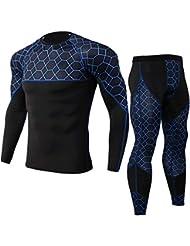 5ba6c11f7dd58 POLP Camiseta Hombre Deportiva Conjuntos Pantalones de Compresión Ropa  Blusa de Manga Larga Blusa para Exteriores