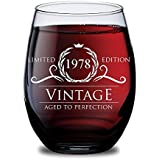 1978 40th Birthday Gifts For Women And Men Wine Glass - 40th Wedding Anniversary Presents For Her, Him Or Parents - 15 Oz Glasses In Gift Box - 40 Year Happy Birthday Ideas For Mom, Dad, Husband, Wife