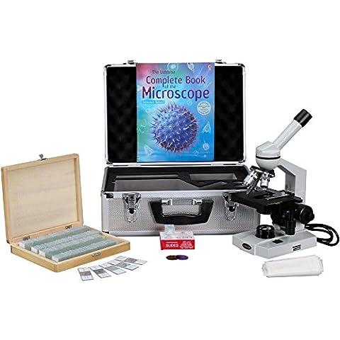 AmScope m600b-ac-cm-ps100a-50p100s 40x -2000x avanzada Monocular microscopio w/3d-stage libro diapositivas y funda de transporte