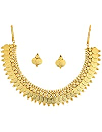 Touchstone Gold Plated Bewitching Temple & Coin Traditional Necklace Set For Women