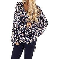 LuckyGirls Camisetas para Mujer Manga Larga Estampado de Floral Volantes Casual Camisas Tops Blusas T-Shirt Long Sleeve