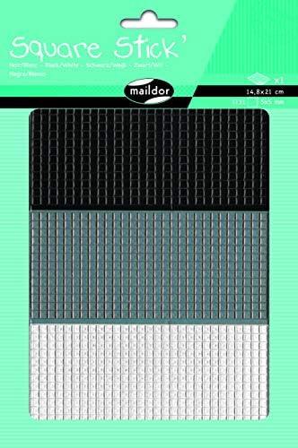 MAILDOR Square Stick', Stick', Stick', Sach 1 pl 14,8x21cm, Noir/blanc 0,5cm B01MS9ML63 289005