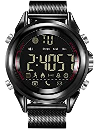 Reloj para Hombre, Reloj Inteligente, Reloj Impermeable, Reloj Deportivo(Black)