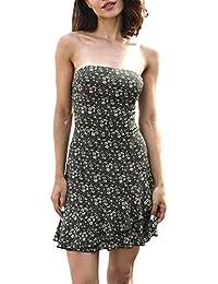Vestido Playa Mujer Cortos Elegante Sin Mangas Sin Tirantes Vestido Bandage  Señoras Moda Vintage Boho Floreadas 4188fc0bcf7d