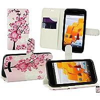 Emartbuy Wileyfox Spark Plus / Wileyfox Spark Wallet Etui Hülle Case Cover aus PU Leder mit Kreditkartenfächern - Rosa Blossom