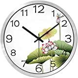 HOMEE Clock-creative lotus silencioso metal reloj de pared sala de oficinas,A,12 pulgadas