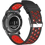18mm 20mm 22mm Universal reloj bandas, FanTEK suave silicona Nike deporte liberación rápida correa de reloj pulsera para Huawei Watch/Samsung Gear S3/Pebble tiempo/Moto 3602nd Gen reloj - SWAAWBNE20BR, Negro/Rojo