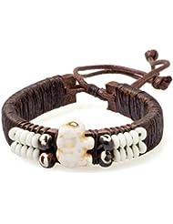 PAPAYANA Hippes Leder-Armband besetzt mit elfenbeinfarbenen Steinen in Elefant-Form