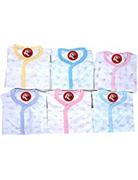 GURU KRIPA BABY PRODUCTS ® Presents New Born Baby Vest Most Useable Full Sleeves jhabla Vest Housiry Cute Prints Front Open Baby Girls And Baby Boys Unisex Baby Top Skin Friendly Baby Tees. Undershirt Organic Cotton Open Neck Jhabla Frount Open Baniyan For Baby Pack of 6 Pcs.