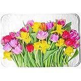 SuaveMats Alfombras de baño ducha ultra suave microfibra antideslizante Piso - ( Flower Floral Tulip Daffodil Yellow Flower Pink Flower Red Flower )